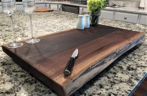 (Black Walnut Large, Gorgeous, Full-of-Character, Forest-to-Table Solid Double Live Edge Wood Charcuterie/Appetizer/Dessert/Grazing/Serving Board. 100% USA Handcrafted. 27 x 15.5 x 1.25