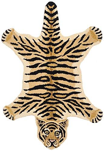Tiger Skin Rug - Tiger-Skin Yogic Asana - Pure Wool - 121 Knots Per Sq. Inch