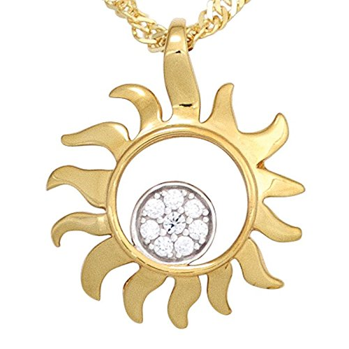 Pendentif Soleil avec 8diamants brillants en or jaune 585or pendentif Femme