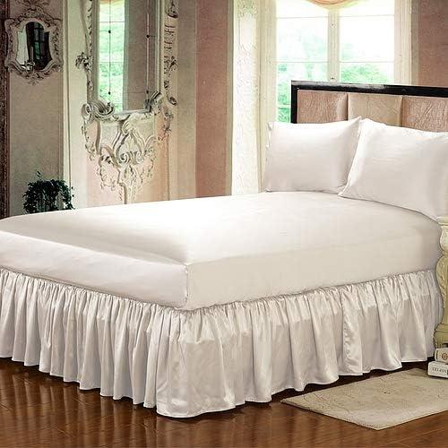 SCALABEDDING 豪華で超柔らか 1000スレッドカウント サテンシルクダストラッフル ベッドスカート1枚 38.1cmドロップ長、キングサイズ(78x80)アイボリーソリッド