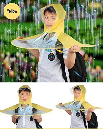 Creative UFO Waterproof Hands Free Umbrella Rain Hat Headwear Cap Raincoat Outdoor Fishing Golf Child Adult student Rain Coat Cover Umbrellas (1.55-1.8M( height), Random(yellow,pink,blue))