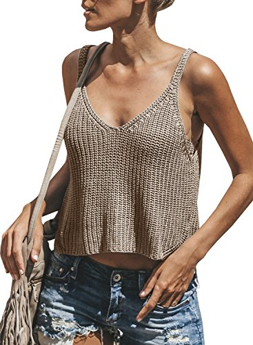 Dellytop Womens V Neck Sleeveless Sweater Spaghetti Strap Knit Tank Tops Crop Vest (Knit Cashmere Top)