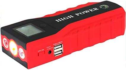 Arrancador de coche 600A Pico 20000mAh (hasta 6,0 Litros De Gas O Motor Diesel De 3,0 Litros), 12V Portable Power Pack Auto Battery Booster Cargador De Teléfono Con Linterna LED Y Compass: