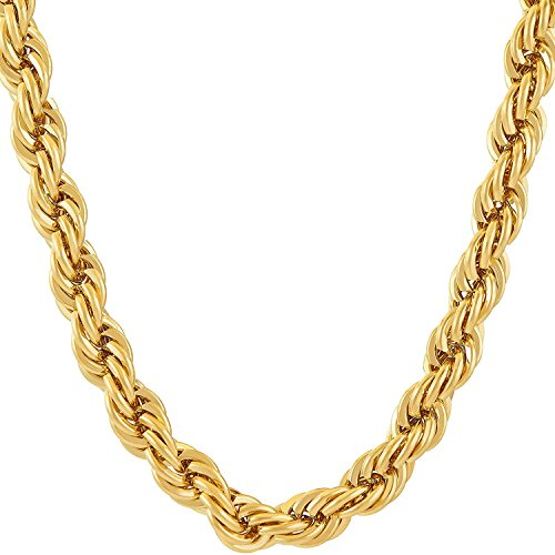 Dubai Collections 7MM Rope Chain, 24K Gold with Inlaid Bronze, Premium Fashion Jewelry, Pendant Necklace Made to Wear Alone or with Pendants, Guaranteed for Life (24) ()