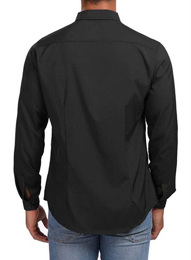 ARTFFEL Mens Slim Long Sleeve Pure Color Zip Trim Button Up Dress Work Shirt