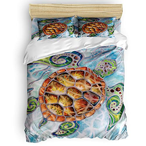 (Yogaly Home Bedding Set 4 Pieces Full Size for Adults/Teens/Children/Baby Turtle Float in Water Printed Bed Sheets, Duvet Cover, Flat Sheet, Pillow Covers)