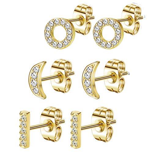 FIBO STEEL Stainless Steel CZ Bar Stud Earrings Dainty Small Stud Earring Set for Women Girls