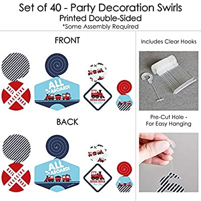 Railroad Party Crossing - Steam Train Birthday Party or Baby Shower Hanging Decor - Party Decoration Swirls - Set of 40: Toys & Games