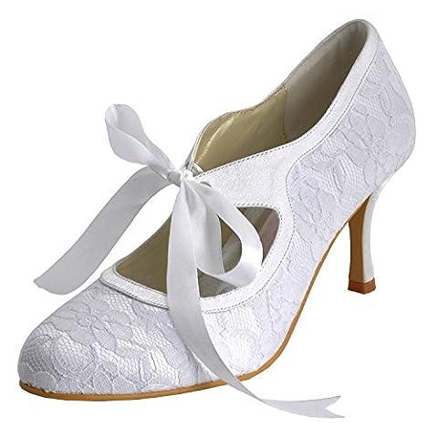 Minishion Womens Round Toe High Heel Ribbon Mary Jane White Lace Bridal Wedding Shoes Pumps 12 M US