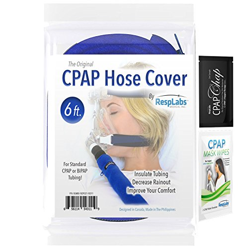 RespLabs CPAP Hose Cover, Tube Wrap | Soft Touch Washable Fleece Tubing Covers | Zipper Insulator w/ Elastic Reinforced Ends Reduces Rainout & Condensation (6 Foot Cover)