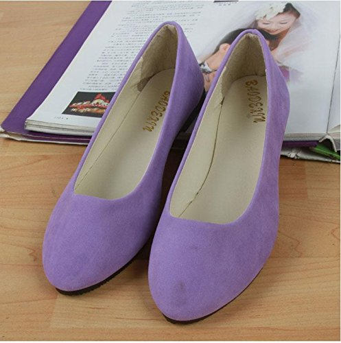 Zapatos Oficina Y amp; Plano Purple Piso Mujeres Casual Light Mocasines Walking Slip Outdoor Fashion Talón Carrera Comfort Lvyuan ons Suede Perezoso OItTq1w
