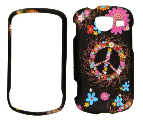 Flower Ring Peace Sign on Black Rubberized Snap-on - Samsung Brightside Covers