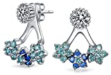 Triple Blue Flower Removable Jacket Earrings Simulated Aqamarine CZ Round Stud 925 Silver