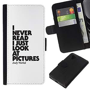 KingStore / Leather Etui en cuir / LG Nexus 5 D820 D821 / Lire Affiche drôle texte