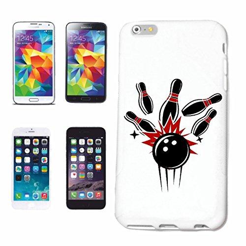 """cas de téléphone iPhone 6+ Plus """"Bowling skittles BOWLING BALL EVIL SMILEY CONE SOIR BOWLING SOIRÉE BOWLING DU TOURNOI"""" Hard Case Cover Téléphone Covers Smart Cover pour Apple iPhone en blanc"""