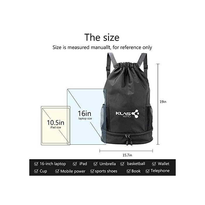 51%2BC0%2BgniGL 【Bolsa Deportiva de Gran Capacidad 】talla de la mochila: de largo 31,5 cm, de ancho 16 cm ,de alto 47 cm. la mochila es muy ligero y fácil de llevar. Adecuado para llevar la mayor parte de los artículos deportivos,ropa,libro a mismo tiempo. 【Es Impermeable y Ligera】la mochila está hecha de tela de nylon de alta calidad, que es ligero y fácil de almacenar. El material de la mochila es repelente al agua, muy fuerte y resistente al desgaste, y no habrá problemas incluso con lluvia. Se puede como mochilas deportivas al aire libre, mochila de viaje, mochilas casual o mochila escolar. 【Diseño de Bosillo Razonable y Fácil de Limpiar】tiene una compartimento impermeable desmontable dentro de la mochila para guardar ropa de baño mojada, toallas, artículos de tocador, etc., especialmente otro compartimento independiente en la parte inferior puede llevar balones de fútbol o zapatos. el cual es muy útil para separarlos de la otros cosas del interior de la mochila.