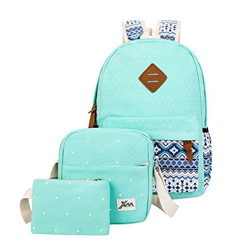 Canvas School Backpack for Teens Girls 3 Set Bookbag Cute Shoulder Bags Polka Dot Turquoise Green