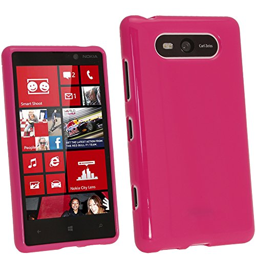 iGadgitz Hot Pink Glossy Durable Crystal Gel Skin (TPU) Case Cover for Nokia Lumia 820 Windows Smartphone Mobile Phone + Screen Protector