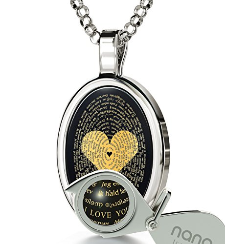 14k White Gold Love Necklace Inscribed with I Love You in 120 Languages in 24k Gold Onyx Pendant, 18