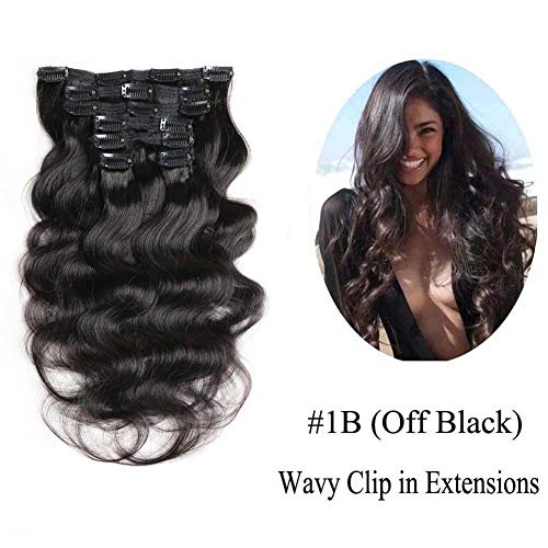 Wavy Clip in Hair Extensions, Urbeauty Body Wave Remy Clip in Human Hair Extensions for Women Triple Weft 7Pcs/70g (#1B Natural Black,12