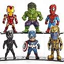 Geraffely アベンジャーズ 6点セット おもちゃ モデル 移動人形 PVC製 塗装済み完成品 アイアンマン アメリカ大尉 スパイダーマン レイセオン バットマン スーパーマン Thanos ハルク