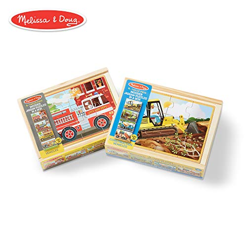 Melissa & Doug Wooden Jigsaw Puzzles Set: Vehicles and - Wooden Puzzle Box Set