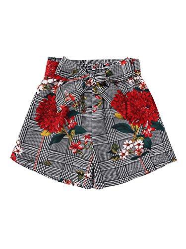 Floral Print Self Tie Elastic Waist Casual Summer Beach Shorts Grey M (Frill Shorts)