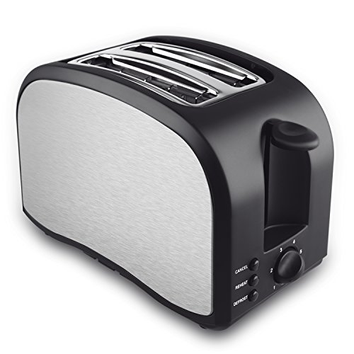 Slice Toaster, TOBOX Compact Brushed Stainless Steel 2-Slice Toaster