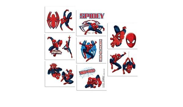 16 piezas Spider-Man Tatuajes, multicolor: Amazon.es: Hogar