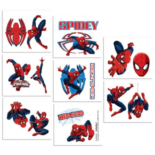 16-Piece Spider-Man Tattoos, Multicolored