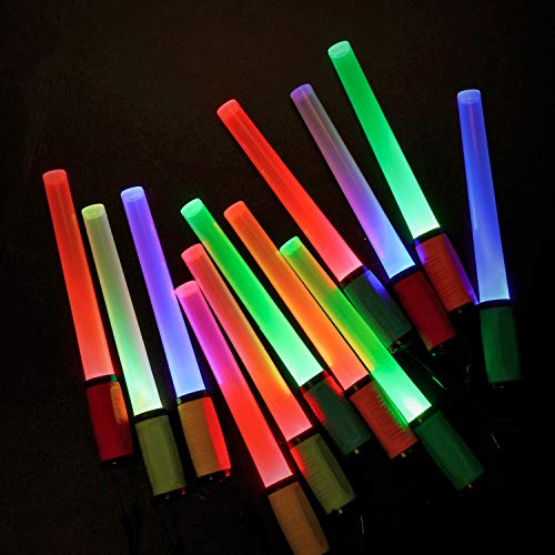 EverBrite LED Glow Sticks Flashlights with 8 Modes, 12-pack Assorted Colors Light Up Toys, Batteries Included, Bulk Party Favors Perfect for Concert, Birthday Party, Festivals -