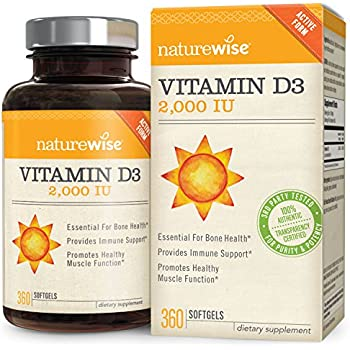 NatureWise Vitamin D3 2,000 IU for Healthy Muscle Function, Bone Health and Immune Support, Non-GMO in Cold-Pressed Organic Olive Oil,1-year supply, 360 count