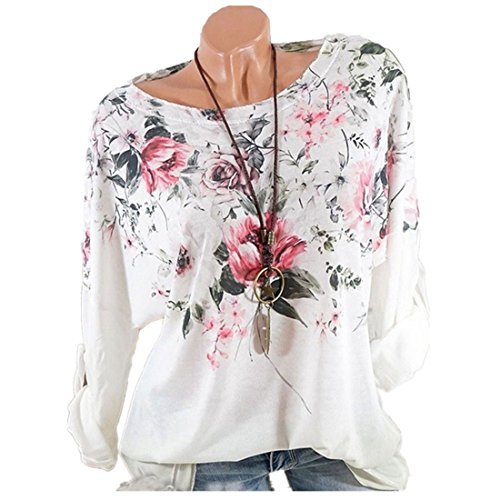 vermers Clearance Women Long Sleeve T Shirts - Women Fashion Floral Print Tops Casual Loose Tunic Blouse(2XL, White) by vermers