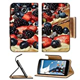 MSD Premium Motorola Google Nexus 6 Flip Pu Leather Wallet Case IMAGE ID 20333674 A colorful fruit pizza with blueberries blackberries strawberries and chocolate chips