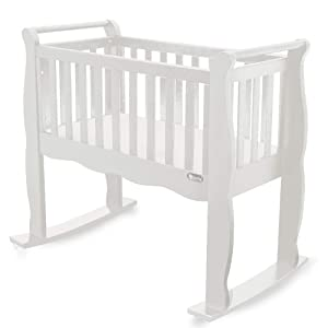 Green Frog, Baby Cradle | Handcrafted Contemporary Wood Baby Cradle | Premium Pine Construction | Wheels, Rockers, and Stationary Options | White …