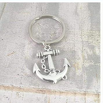 Llavero de ancla, gran ancla de plata, llavero de barco ...
