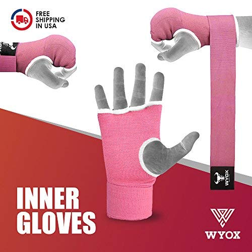 Wyox Boxing Inner Gloves Gel Padded Hand Wraps Fist Bandages MMA Thai Muay Training (Medium, Pink)