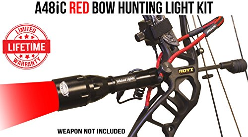 Bow Predator (Wicked Lights A48iC Red Bow Hunting Light Kit for Bow Fishing, Predator & Hog Night Hunting)