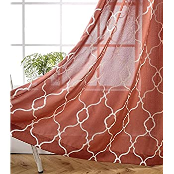 MIUCO Moroccan Embroidered Semi Sheer Curtains Faux Linen Extra Wide Grommet Window Panel Pair for Bedroom 52 x 95 Inch, Rust
