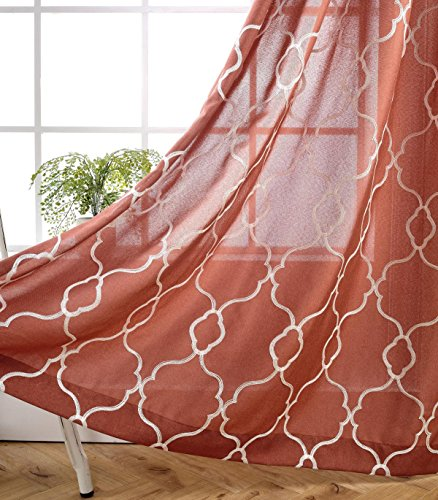 MIUCO Moroccan Embroidery Semi Sheer Curtains Faux Linen Grommet Curtain Panels for Kids Room 52 x 84 Inch 2 Panels, Rust