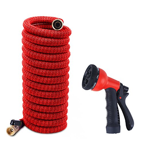 Proof Spray (NUZAMAS Garden Water Hose 100 Feet Expandable Hose With All Brass Connectors and Valve , 8 Pattern Spray Gun Nozzle And High Wash Pressure, Expanding 10m - 30m Latex Inner Red 100ft)