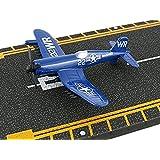 Hot Wings F4U Corsair with Connectible Runway Die Cast Plane Model Airplane, Blue