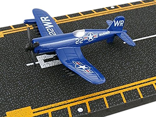 Hot Wings F4U Corsair with Connectible Runway Die Cast Plane Model Airplane, (Hot Wings Diecast Toy Airplane)