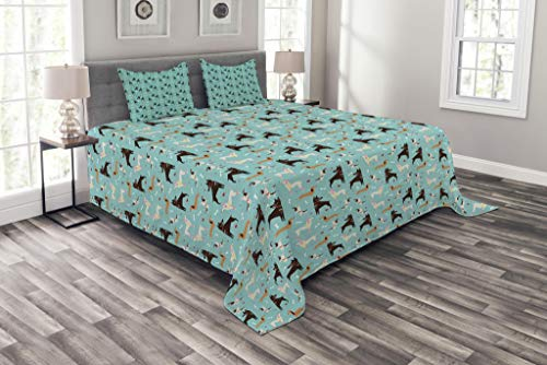 Lunarable Dog Bedspread, Baset Hound Doberman Terrier and Poodle Breeds and Bones for Pet Lovers Graphic Image, Decorative Quilted 3 Piece Coverlet Set with 2 Pillow Shams, Queen Size, Blue Brown (Dog Bedspread)