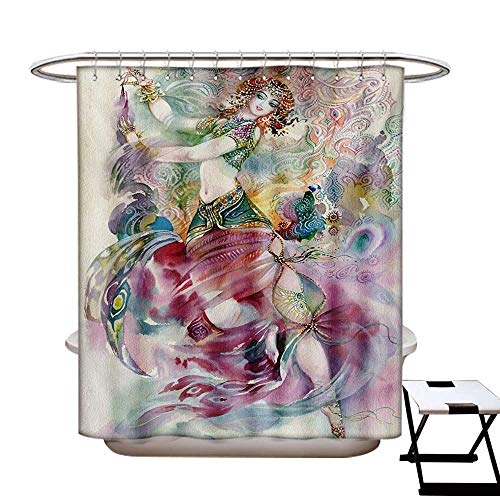 (BlountDecor Watercolor Shower Curtains 3D Digital Printing Oriental Dance Theme Young Girl Performing in Traditional Costume Fantasy Figure Custom Made Shower Curtain W48 x L72)