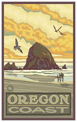 Haystack Rock Oregon Coast Travel Art Print Poster by Paul A. Lanquist (12