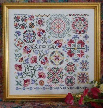 Flowers Stitch Cross Chart - Swirling Flowers Cross Stitch Chart and Free Embellishment