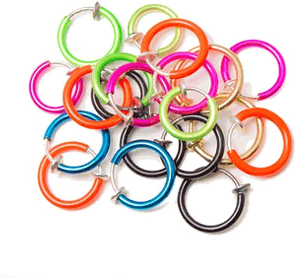 BodyJewelryonline Adultos 20-Pack no Piercing Falsos Aros anodizado Acabado - cartílago, Labio, Nariz y oído: Amazon.es: Joyería