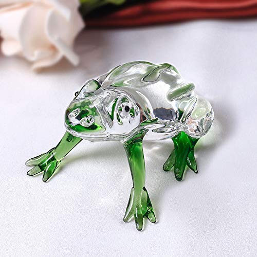 DeemoShop 1 Piece Cute Frog Crystal Figurines Miniatures Glass Animal Crafts Paperweight Ornaments Kids Gifts Home Decor
