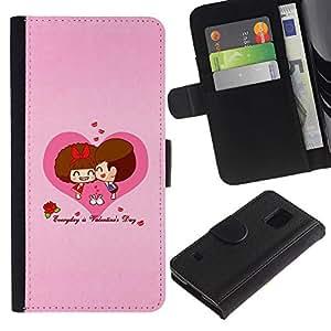 All Phone Most Case / Oferta Especial Cáscara Funda de cuero Monedero Cubierta de proteccion Caso / Wallet Case for Samsung Galaxy S5 V SM-G900 // Love Cute Couple Heart